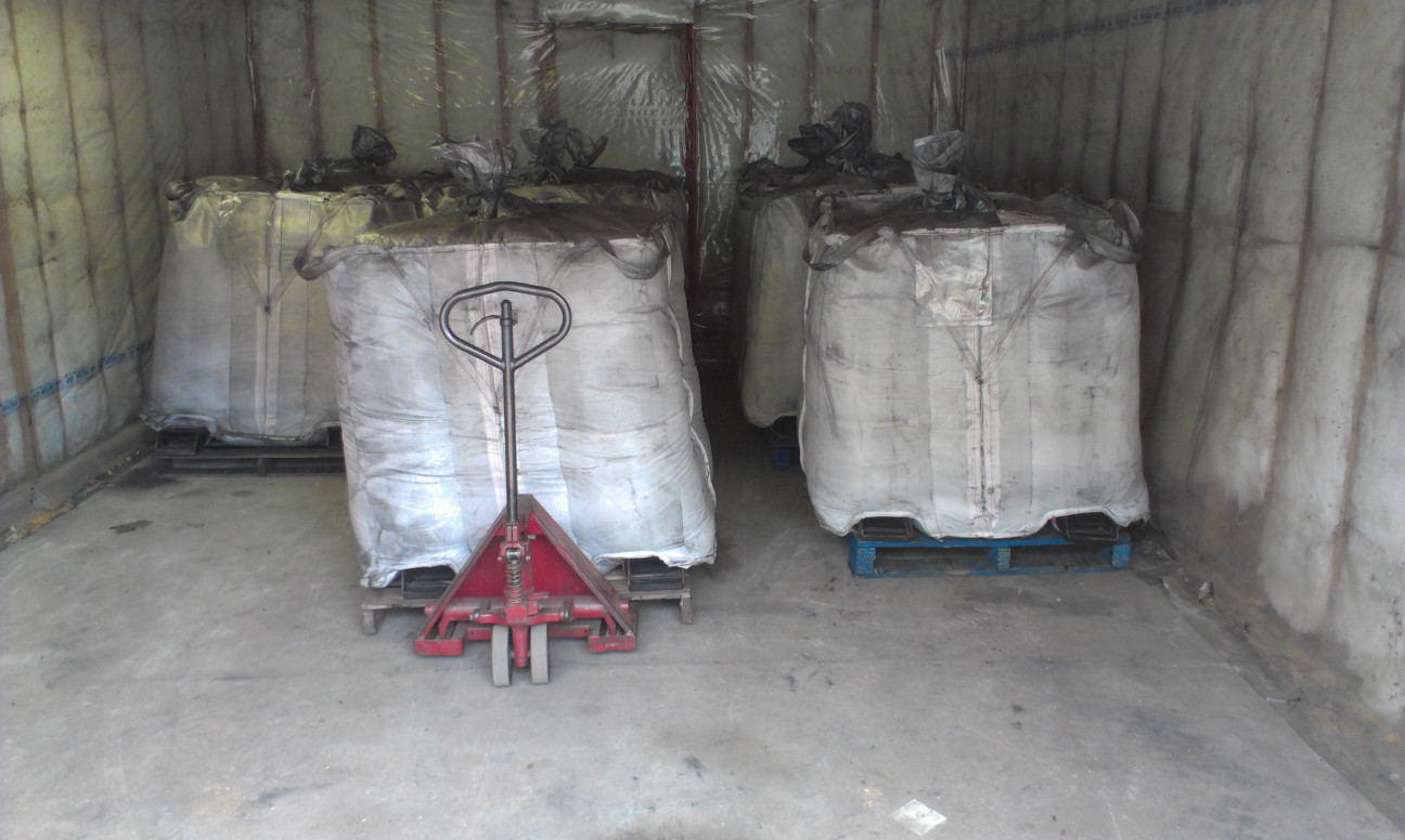 1 tonne bags of graphite waiting to ship