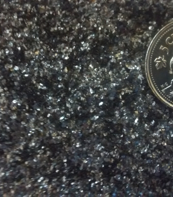 Graphite flakes with coin for size