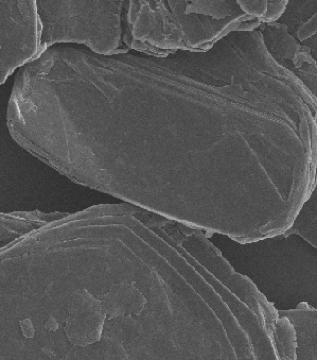 Graphite flakes close up using Scanning Electron Microscope. Each flake is a stack of graphene layers