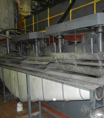 Inside plant – one of several banks of flotation cells