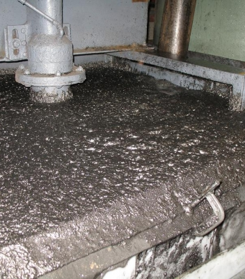 Inside plant – graphite froth at the top of the flotation cell